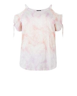 Plus Size Pink Leaf Print Cold Shoulder Top | New Look