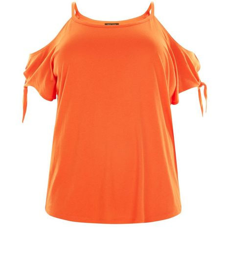 Curves Orange Cold Shoulder Tie Sleeve T-Shirt | New Look