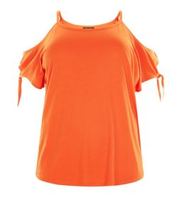 Plus Size Orange Cold Shoulder T-Shirt | New Look