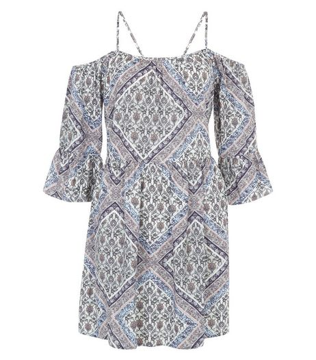 Blue Tile Print Cold Shoulder Smock Dress  | New Look