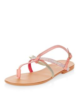 Coral Leather Diamante Strap Sandals | New Look