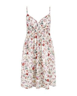 White Floral Print Wrap Front Strappy Dress  | New Look