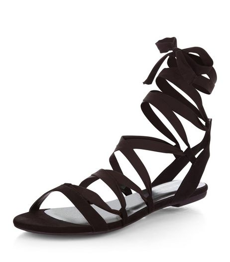 Black Suedette Ribbon Ghillie Sandals  | New Look