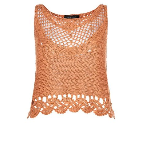 Coral Crochet Crop Top  | New Look