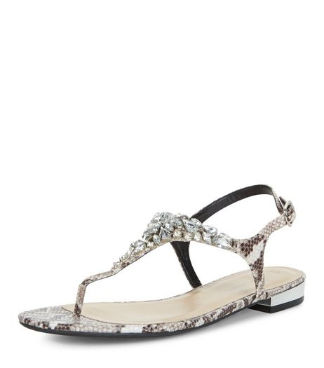 Black Snakeskin Print Gem Stone Trim Sandals  | New Look