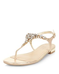 Gold Suedette Embellished Sandals | New Look