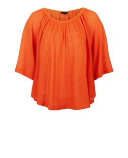 Orange Pointelle Fine Knit Gypsy Top  | New Look