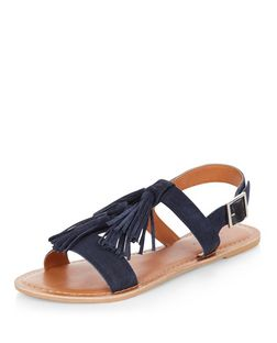 Navy Suede Tassel Strap Sling Back Sandals  | New Look