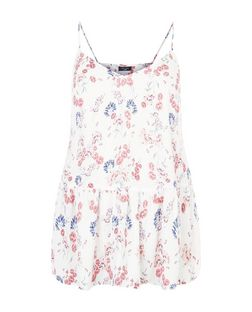 Curves White Floral Print Peplum Cami  | New Look