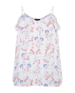 Plus Size White Floral Print Frill Cami | New Look