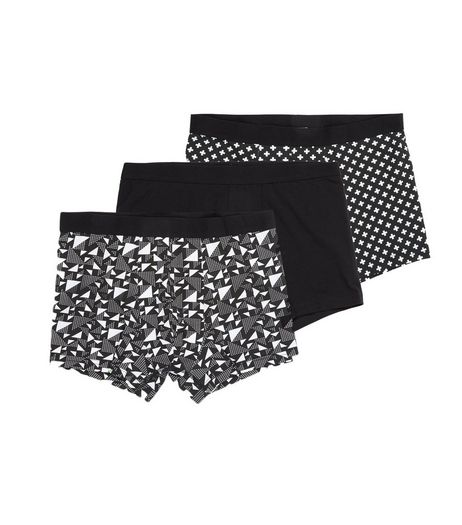 3 Pack Black Abstract Print Trunks | New Look