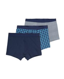 3 Pack Blue Check Trunks | New Look