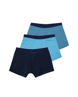 Blue Stripe and Spot Print Boxers | New Look
