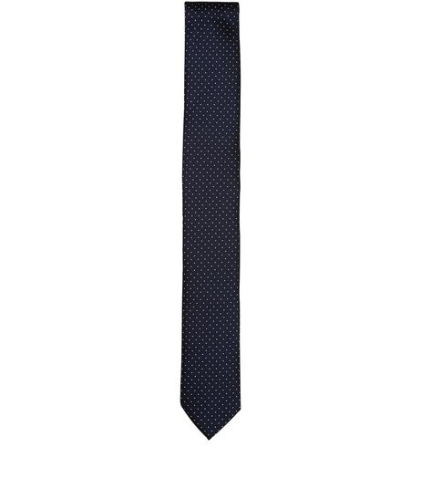 Navy Pin Dot Print Tie  | New Look
