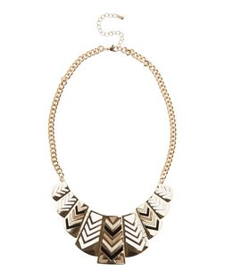 Black Suedette Panel Chevron Necklace | New Look