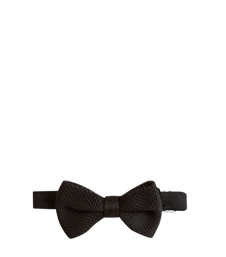 Black Textured Bow Tie | New Look
