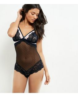 Black DD+ Contrast Mesh Lace Bodysuit | New Look