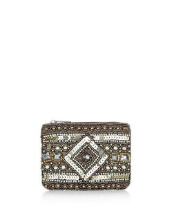 Gold Sequin Embellished Zip Top Coin Purse  | New Look