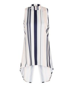 Cameo Rose Blue Stripe Dip Hem Top | New Look