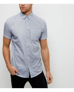 Blue Abstract Print Short Sleeve Shirt | New Look