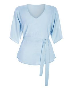 Cameo Rose Blue Belted V Neck Top  | New Look
