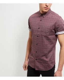 Red Abstract Print Single Pocket Roll Sleeve Shirt  | New Look