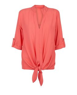Loving This Coral Tie Front Blouse | New Look