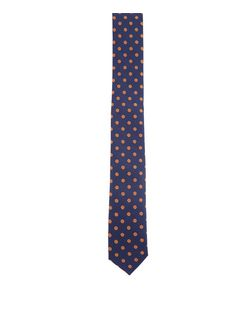Navy Polka Dot Print Tie  | New Look