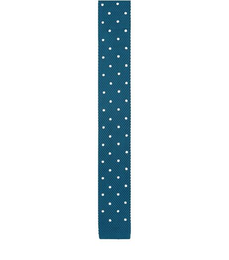 Teal Polka Dot Knitted Tie  | New Look