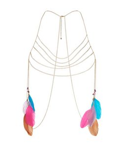 Multicoloured Feather Bodychain | New Look
