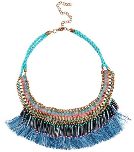 Multicoloured Rope Fringed Necklace | New Look