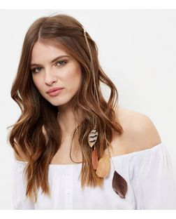Brown Feather Drop Hair Clip  | New Look