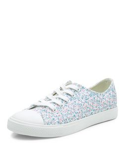 White Floral Print Lace Up Plimsolls  | New Look