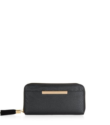 Black Textured Metal Bar Zip Around Purse  | New Look