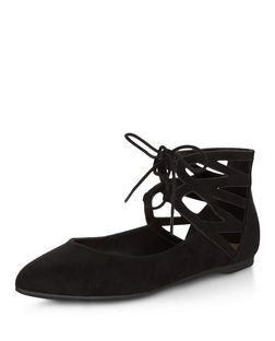 Black Suedette Pointed Ghillie Pumps  | New Look