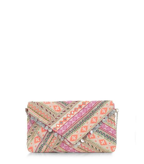 Multicoloured Aztec Coin Trim Across Body Bag  | New Look