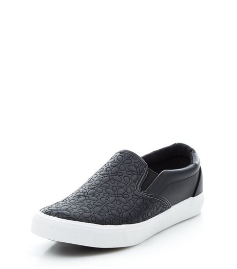 Black Stitch Textured Slip On Plimsolls | New Look