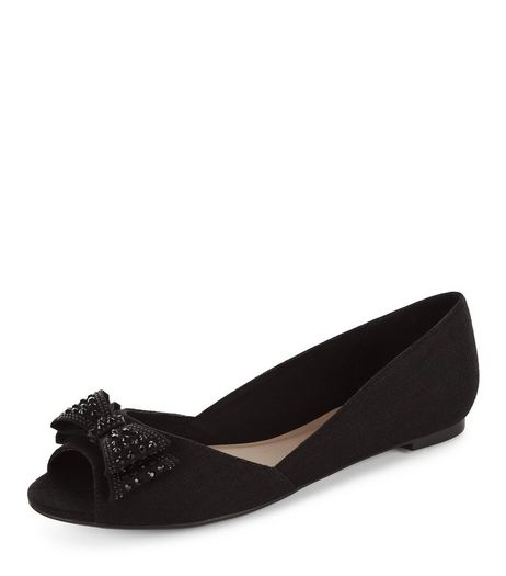Black Diamante Bow Front Peep Toe Pumps  | New Look
