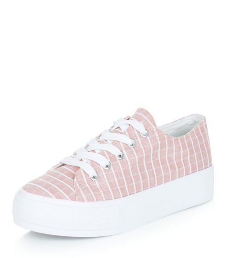 Teens Coral Check Print Flatform Plimsolls | New Look