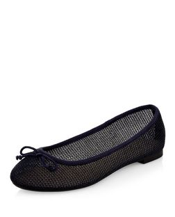 Navy Mesh Ballet Pumps | New Look