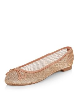Gold Mesh Ballet Pumps | New Look