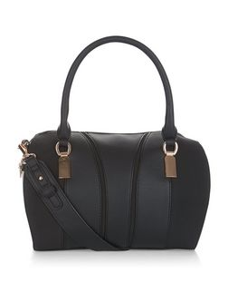 Black Metal Trim Bowler Bag  | New Look