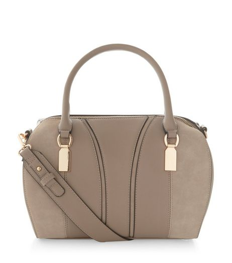 Grey Metal Trim Bowler Bag  | New Look