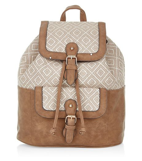 Brown Geo Print Panel Backpack | New Look