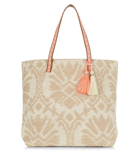 Camel Abstract Woven Beach Bag  | New Look