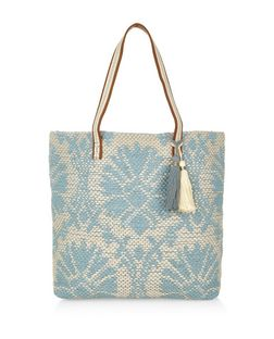 Blue Abstract Woven Beach Bag | New Look
