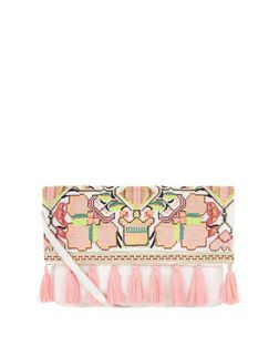 Coral Aztec Woven Tassel Trim Clutch  | New Look