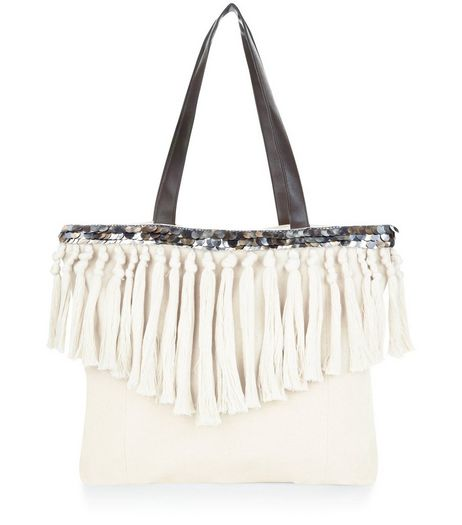 Cream Tassel Trim Shopper Bag  | New Look