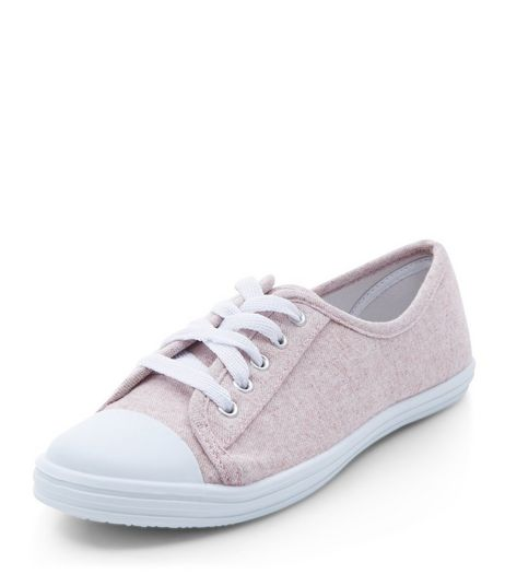 Teens Pink Lace Up Plimsolls | New Look