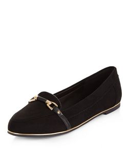 Teens Black Link Trim Loafers  | New Look